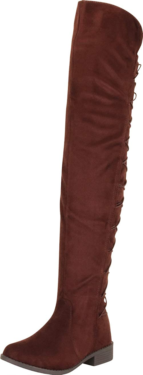 Cambridge Select Women's Back Corset Lace Chunky Block Low Heel Over The Knee Boot