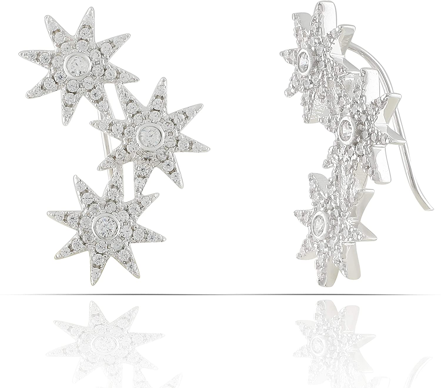 JanKuo Jewelry Rhodium Plated Brass with Cubic Zirconia 3 Star Constellation Climber Crawler Earrings