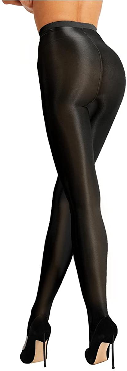MSemis Women's Sheer Pantyhose High Waist Tights Shiny Stockings Ultra Shimmery Plus Footed 70D Tights