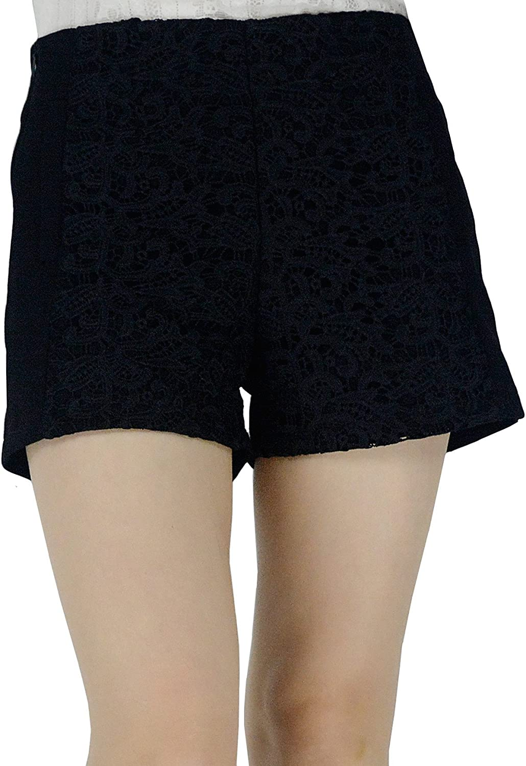 YSJ Women's Embroidered Floral Lace Zipper Closure Mini Shorts 5 Sizes (10, Black)