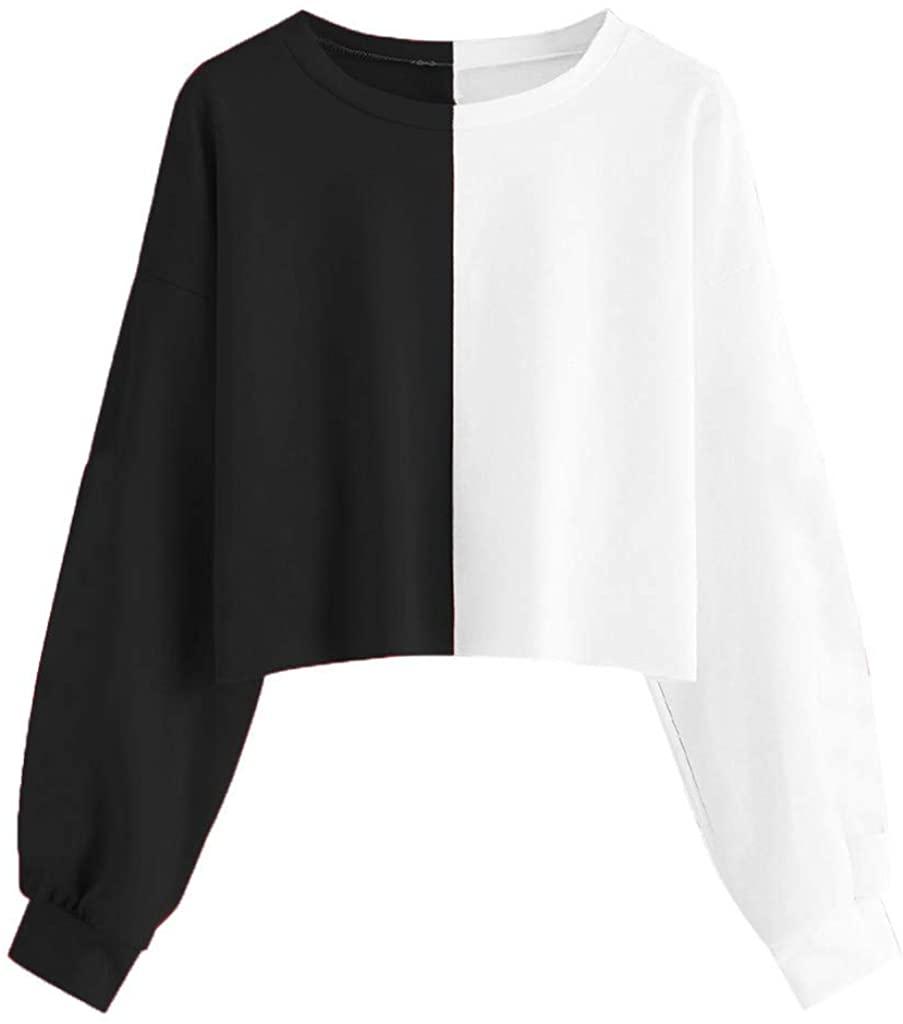 FACAIAFALO Cropped Hoodie, Women Teen Girl Fashion Color Block Long Sleeve Hooded Crop Tops Sweatshirt Loose Pullover