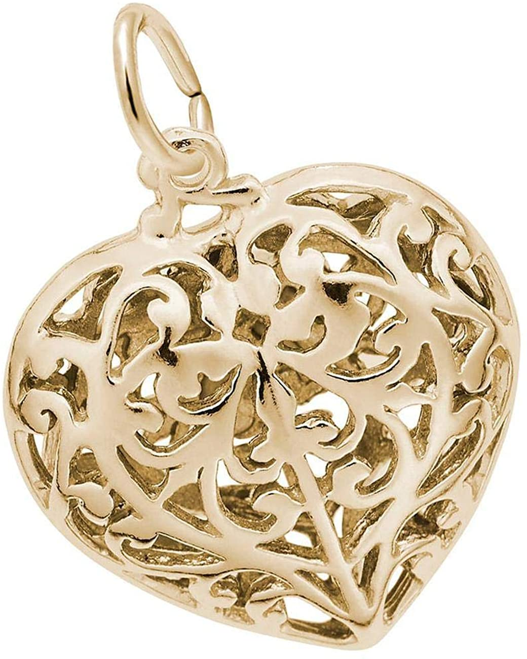 Yellow Gold Filigree Heart Charm