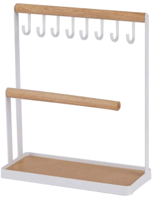 JOONOR Jewelry Towers - Jewelry Display Stand Holder Organizer with Wooden Ring Tray and Hooks Storage Necklaces Bracelets, Rings, Watches Desk Organizer