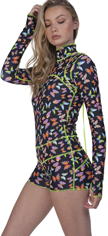 tutublue Women's One-Piece Boy Leg Full Coverage Swimsuit UPF50 Long Sleeve Sun Protection Bodysuit