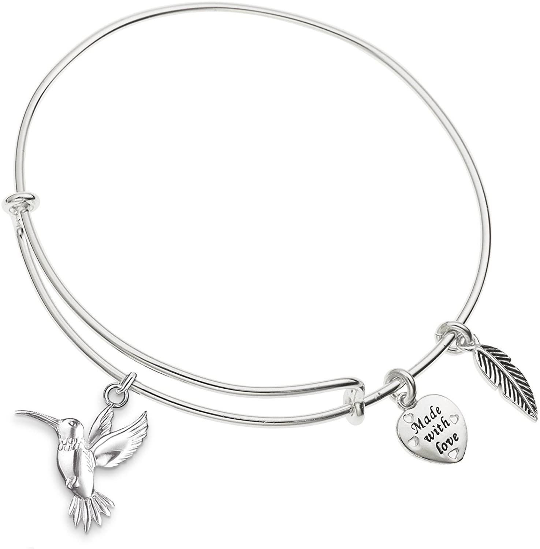 Enni of York Hummingbird Charm Expandable Silver-Tone Bangle Bracelet