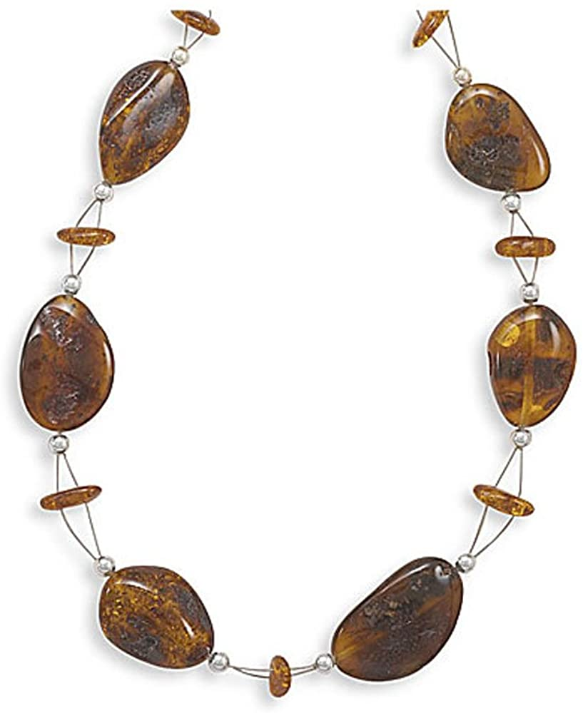 Silver Amber Necklace, Cognac, Baltic Amber-Amber Ovals Necklace