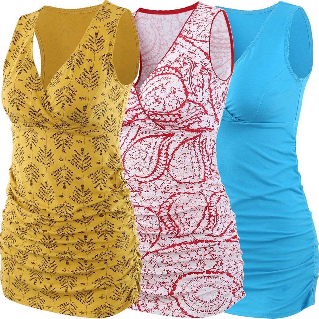 ZUMIY Nursing Maternity Top, Pregnant Breastfeeding Shirt, Women's Cotton V Neck Ruched Waist Double Layered Postpartum Tank