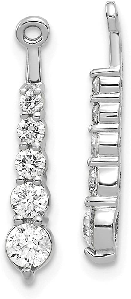 Solid 14k White Gold Diamond earring jacket - 20mm x 3mm (.65 cttw.)