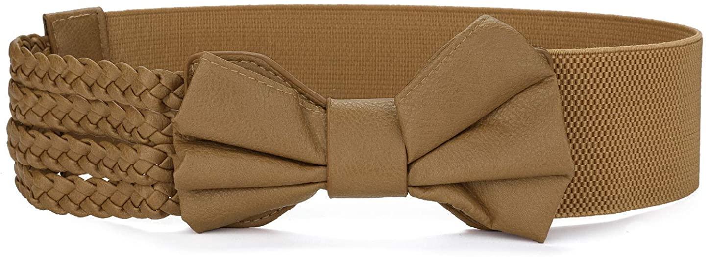 Allegra K Camel Color Bowknot Decor Braided Faux Leather Elastic Cinch Belt for Women