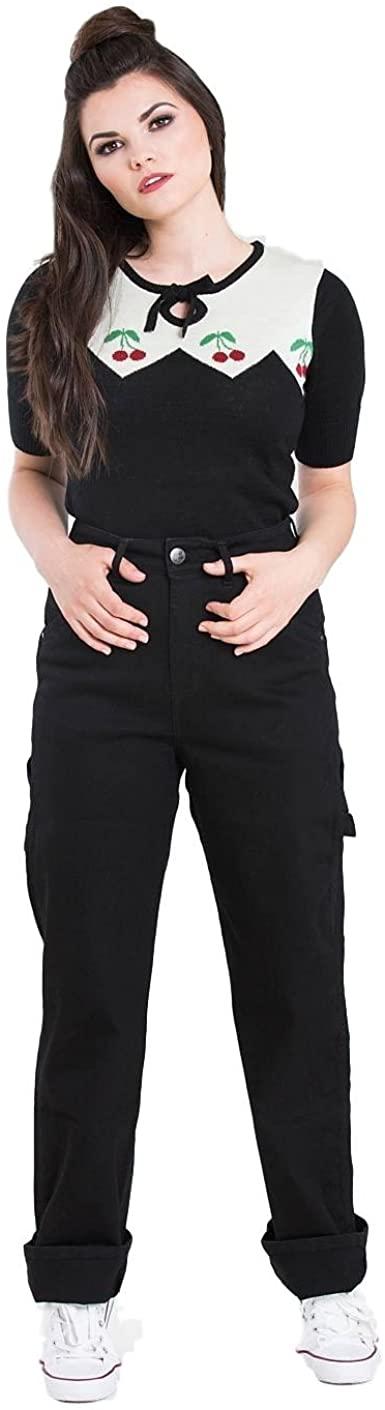 Hell Bunny Carpenter Denim Jeans 40s 50s Vintage Retro Rockabilly Trousers Pants
