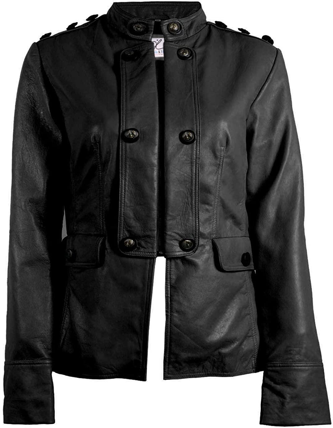 Trendz&ideas Nautical Black Azure Womens Leather Blazer