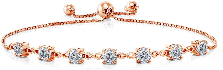 Gem Stone King 2.80 Ct Round G/H Diamond 18K Rose Gold Plated Silver Bracelet