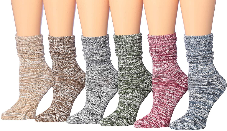 Tipi Toe Women's Cotton Extra Warm Winter Crew Boot Socks 6 Pairs