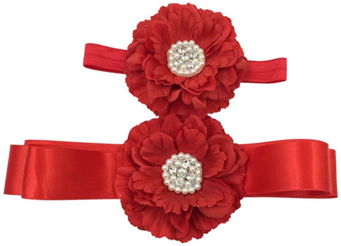 Maternity Sash Belt Wedding Flower Girls Dress Sash with Headband ZYD01
