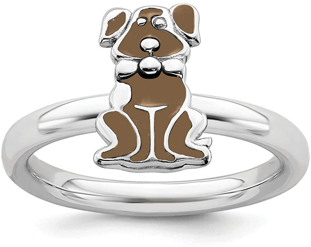 Beautiful Sterling silver 925 sterling Sterling Silver Stackable Expressions Brown Enameled Dog Ring