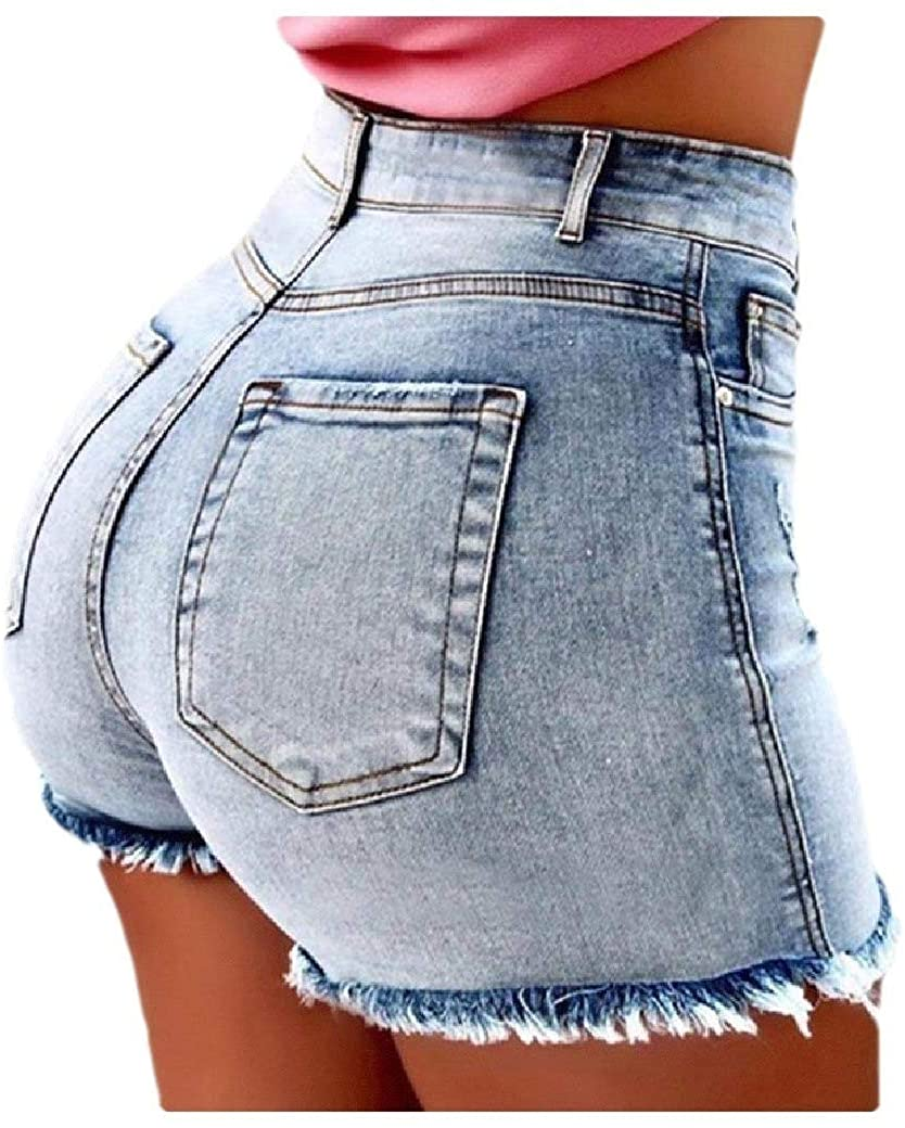 VITryst Women's Hole Tassel Solid Color Pocketed Relaxed Empire Waist Short Jeans