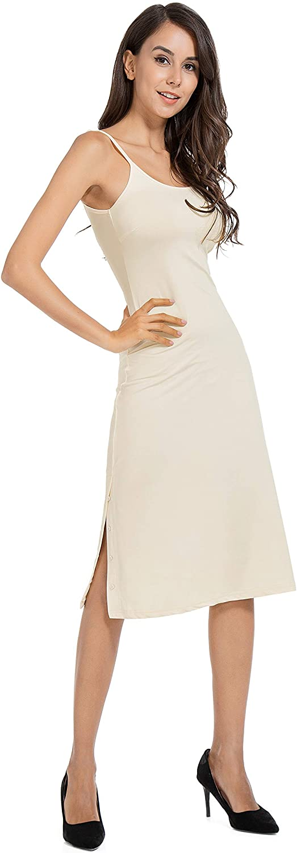 Subuteay Full Slip for Women Knee Length Adjustable Spaghetti Strap Camisole Dress