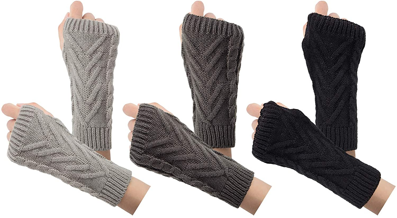 3-4 Pairs Fingerless Gloves Arm Warmers for Women Knit Hand Crochet Winter Warm Mittens