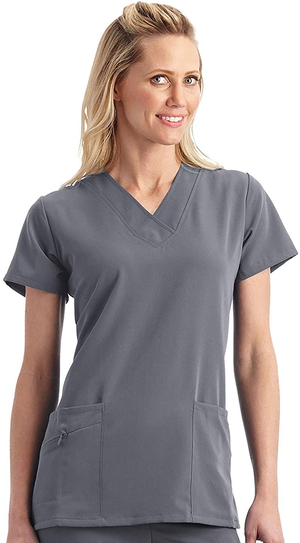 Jockey Women's Scrubs Women's V-Neck Crossover Scrub Top, Pewter, XS
