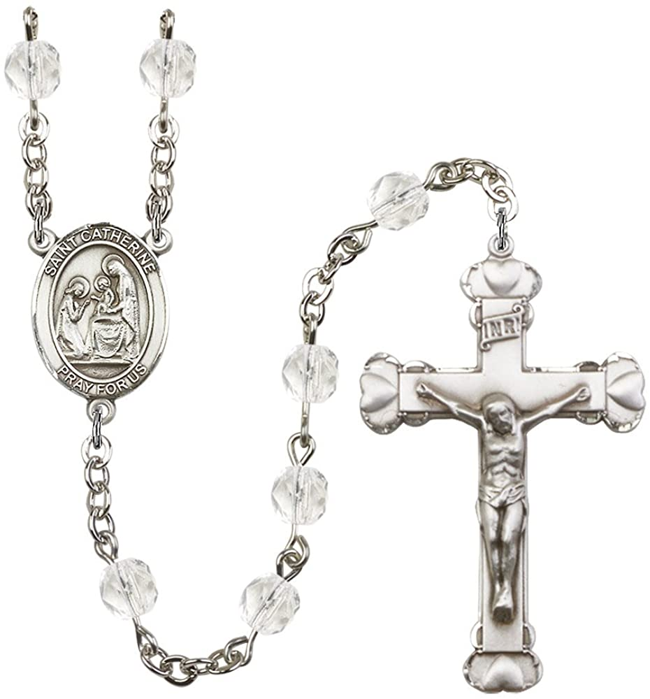 Silver Plate Rosary features 6mm Crystal Fire Polished beads. The Crucifix measures 1 5/8 x 1. The centerpiece features a St. Catherine of Siena medal. Patron Saint Fire Prevention