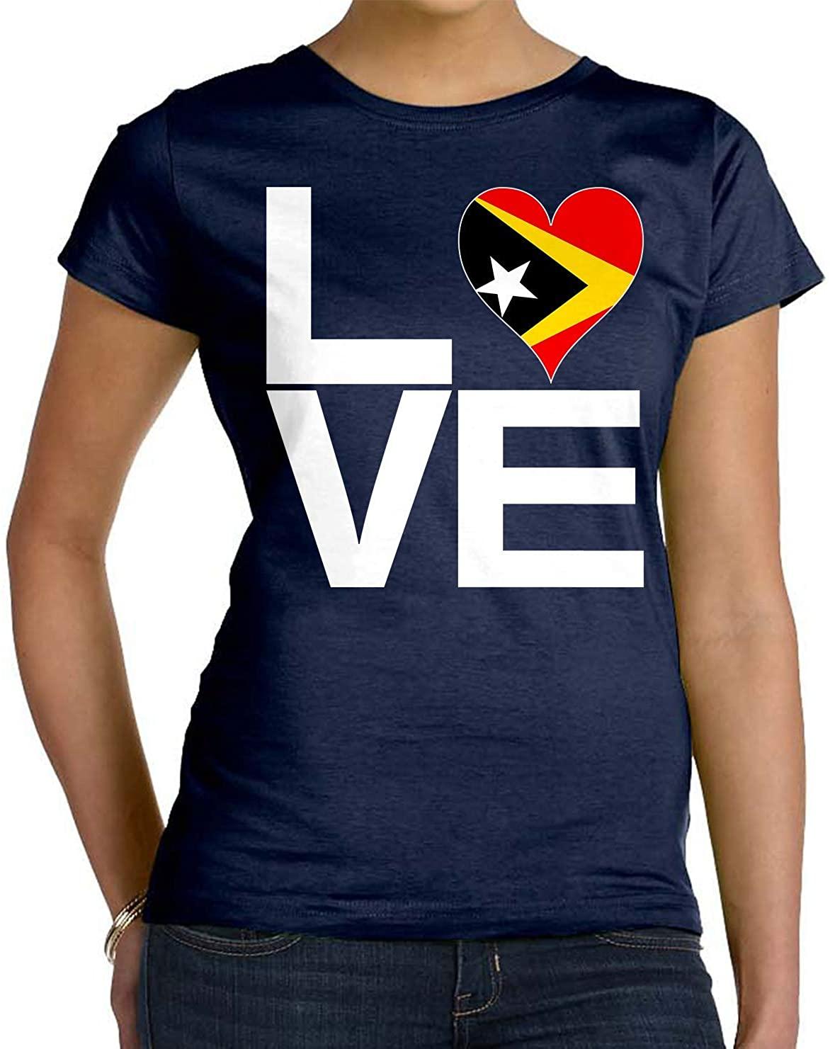Tenacitee Women's Love Block East Timor Heart T-Shirt