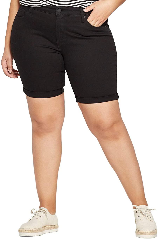 Universal Thread Women's Plus Size Roll Cuff Bermuda Jean Shorts- Black -