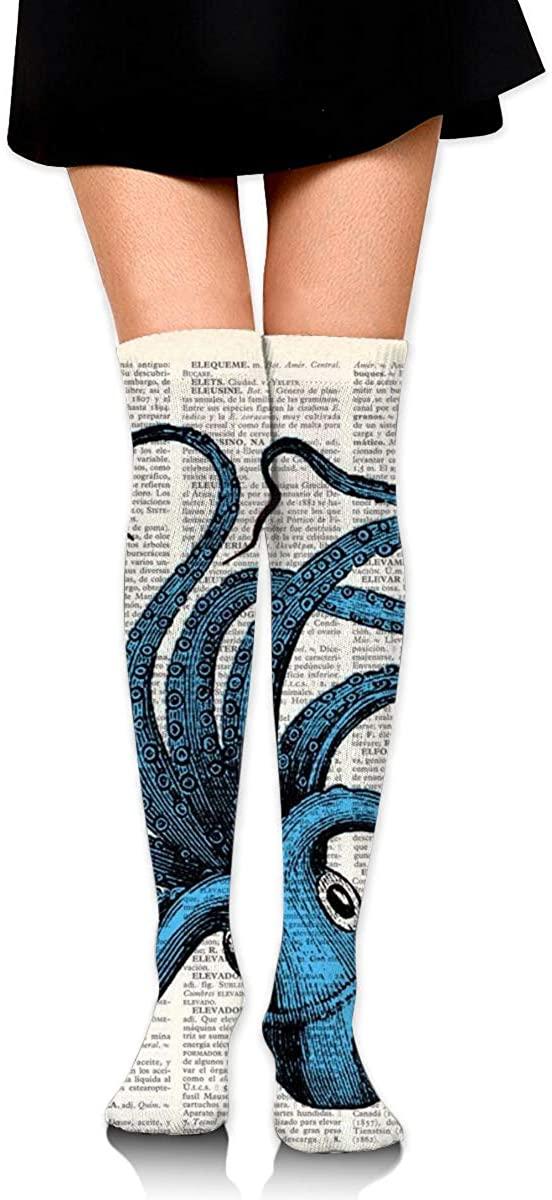 Dress Socks Ocean Sea Navy Octopus Newspaper High Knee Hose Soccer Stockings