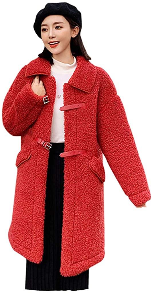 LEKODE Jacket Women's Warm Solid Faux Fur Coat