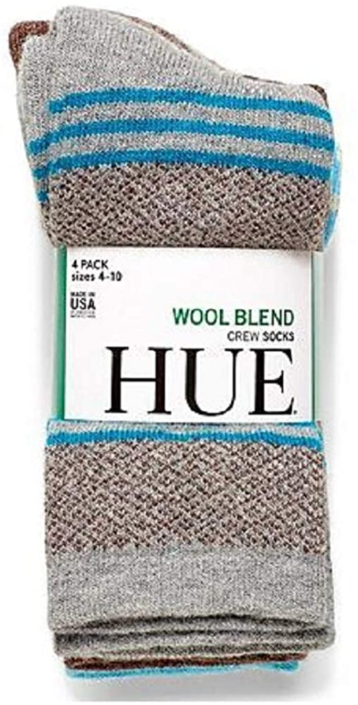 HUE Womens Size 4-10 (4-Pack) Wool Blend Crew Socks w/Arch Support, Assorted Colors