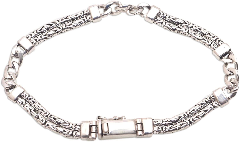 NOVICA No Stone .925 Sterling Silver Chain Bracelet 'Byzantine Links'