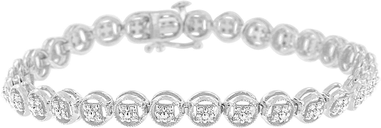 Sterling Silver Diamond Circle Frame Tennis Bracelet (0.25 cttw, I-J Color, I2-I3 Clarity)