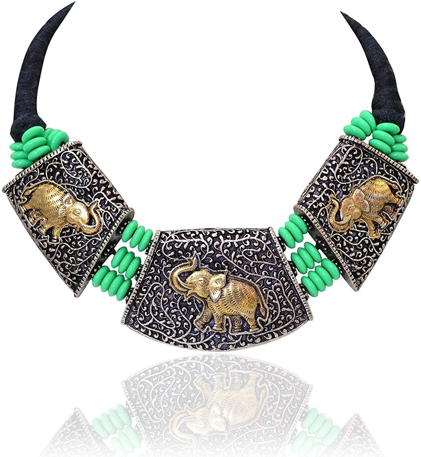 Sansar India Oxidized Dual Tone Thread Choker Green Beads Necklace for Girls and Women