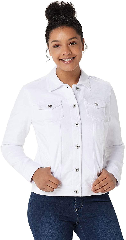 Belle by Kim Gravel Womens Flexibelle Classic Jean Jacket X-Small White A350469