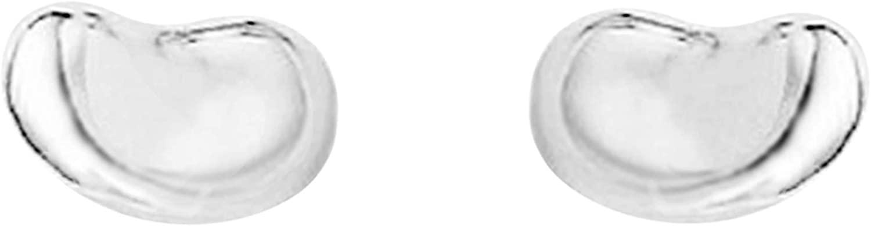 Ritastephens Sterling Silver Small Shiny Kidney Bean Stud Post Earrings