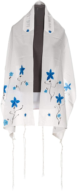 Galilee Silks Hand painted White with Blue flowers Silk Tallit, Girls Tallit, Bat Mitzvah Tallit, 20 inch by 72 inch Women's Tallit from Israel