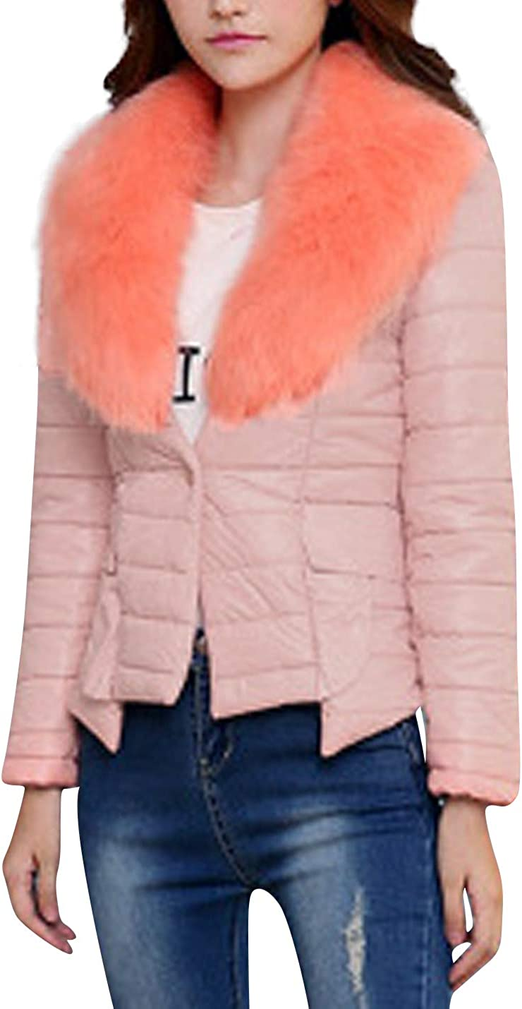 HUPOO Women's Winter Slim fit Fur Collar Quilted Cotton Padded Outerwear Puffer Coats