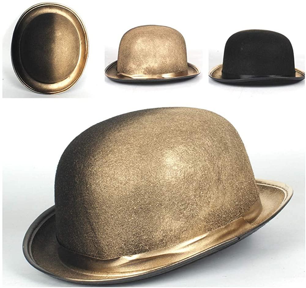 Bin Zhang Women Men Steampunk Bowler Hat Cosplay Topper Top Hats Fedora Billycock Groom Hat Size 58CM
