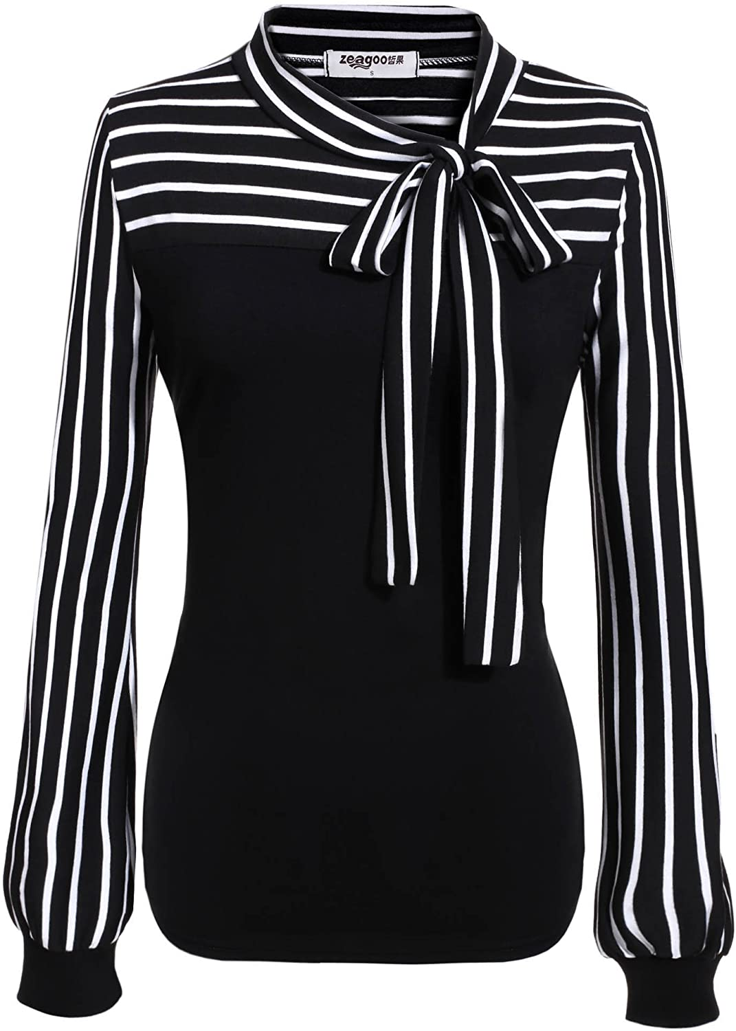 Women's Tie-Bow Neck Striped Blouse Long Sleeve Shirt Office Work Splicing Blouse Shirts Tops