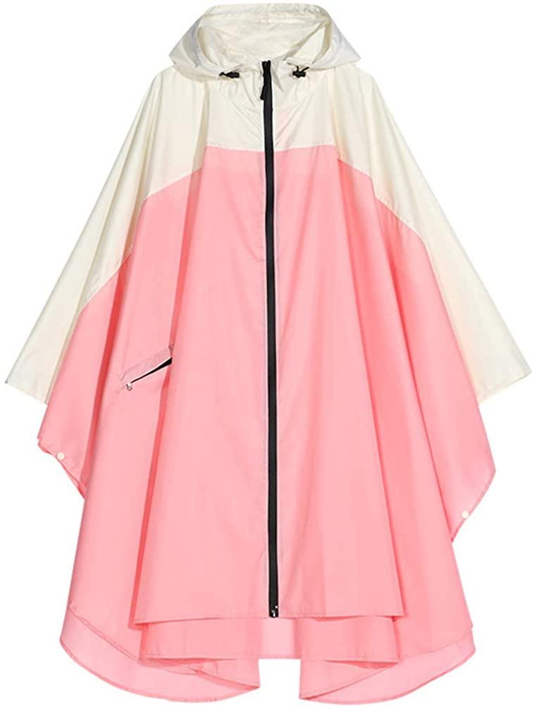 Spmor Rain Poncho Hooded Waterproof Raincoat Jacket for Adults with Zipper