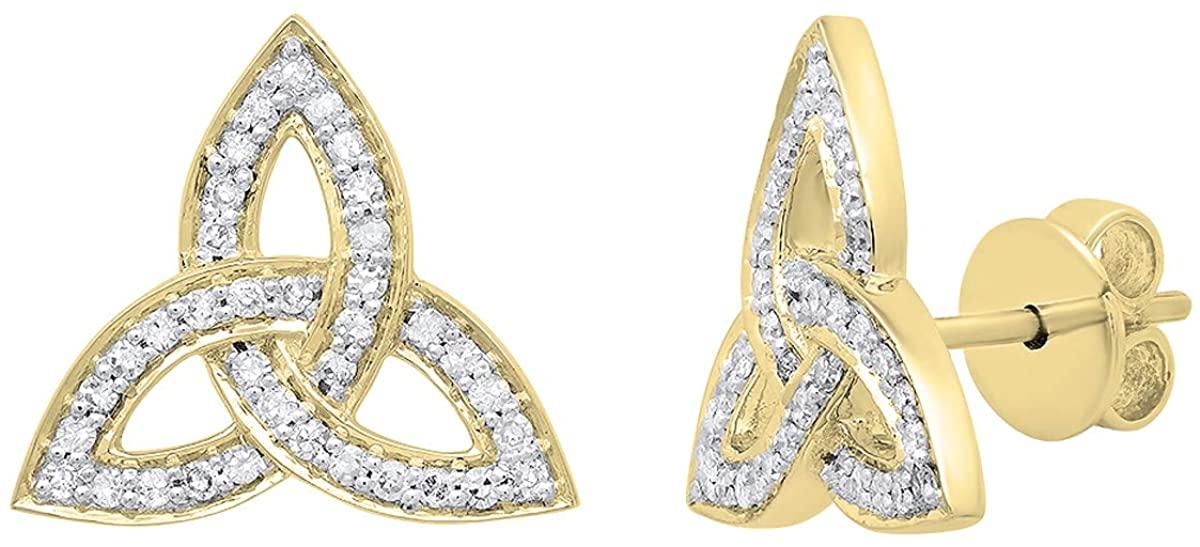 Dazzlingrock Collection 0.30 Carat (ctw) 14K Gold Round White Diamond Ladies Trinity Knot Stud Earrings 1/3 CT