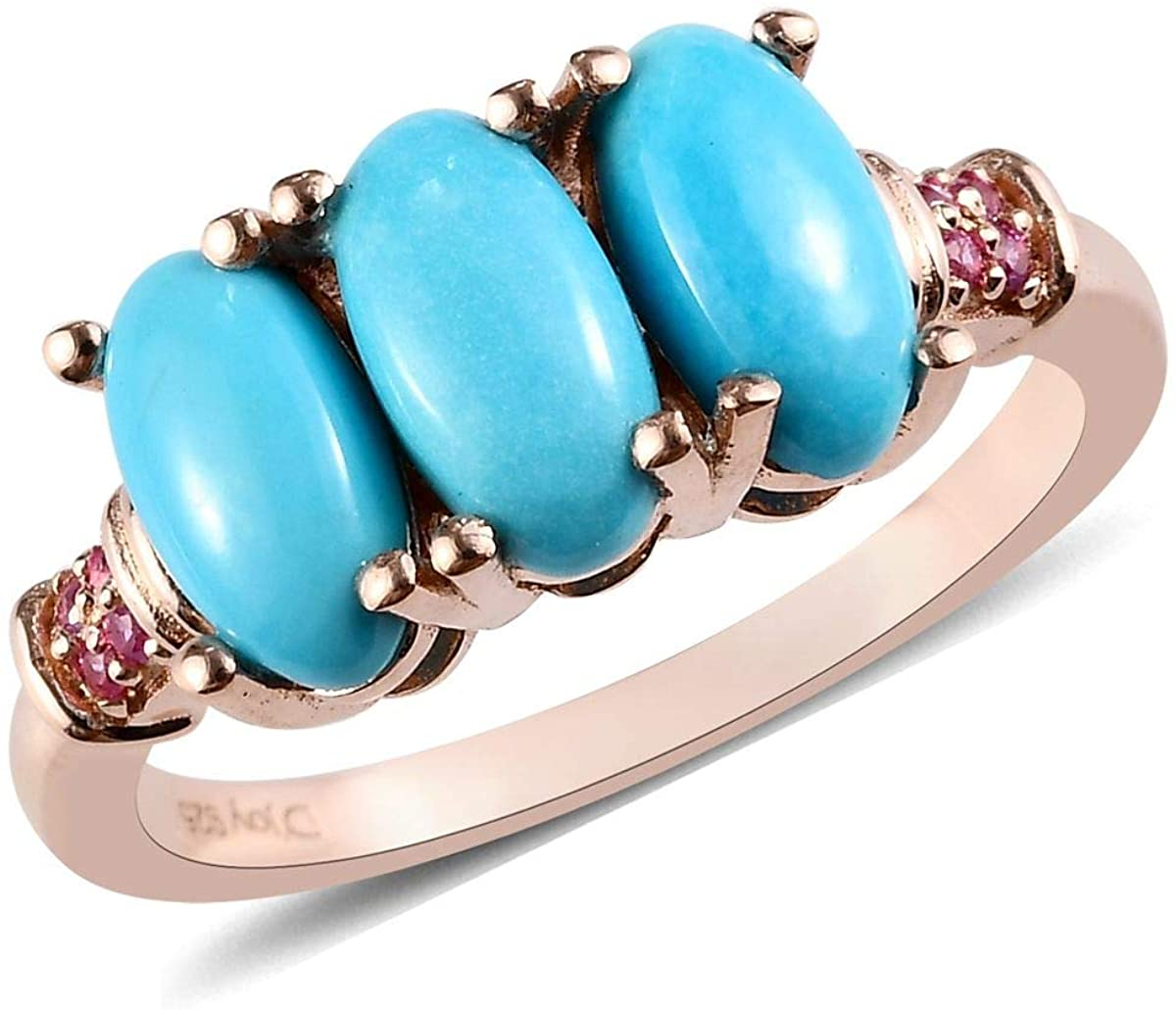 925 Sterling Silver Rose Gold Plated Oval Sleeping Beauty Turquoise Pink Sapphire Promise Ring Wedding Anniversary Jewelry for Women Size 9
