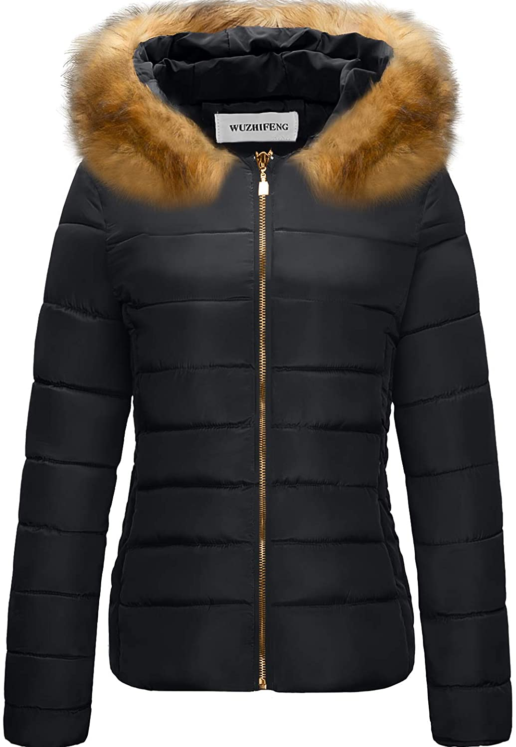CHERFLY Womens Faux Fur Trim Winter Coat Warm Thickened Puffer Jacket with Hood