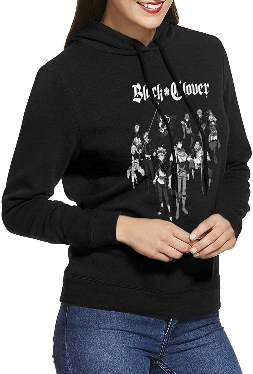 Black Clover Women's Ultra Soft Fleece Casual Solid Pullover Hoodie Sweatshirt Black