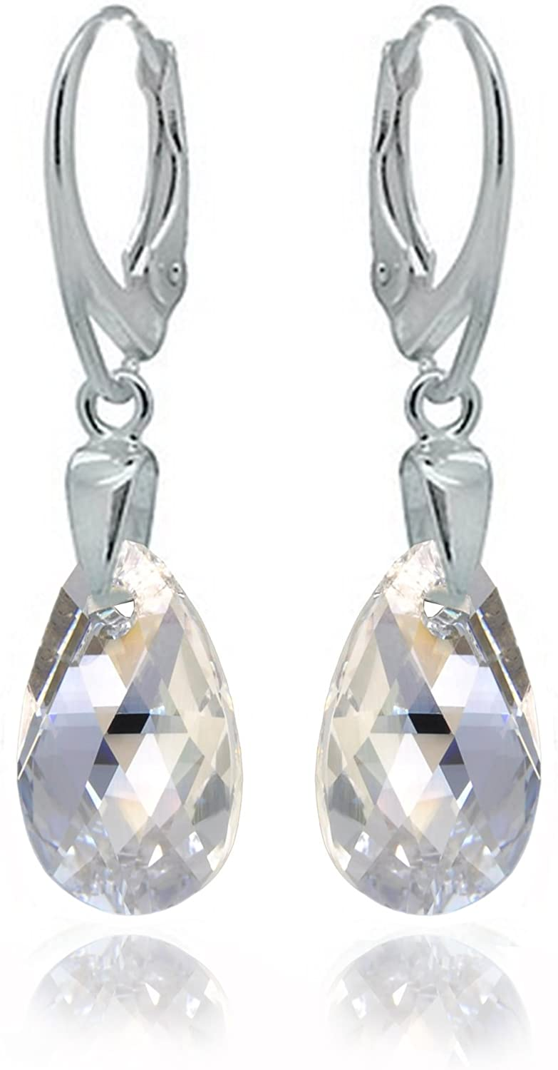 Sterling Silver 925 Drop and Dangle Moonlight Clear Blue Leverback Sparkling Earrings Dazzling with Swarovski Crystals