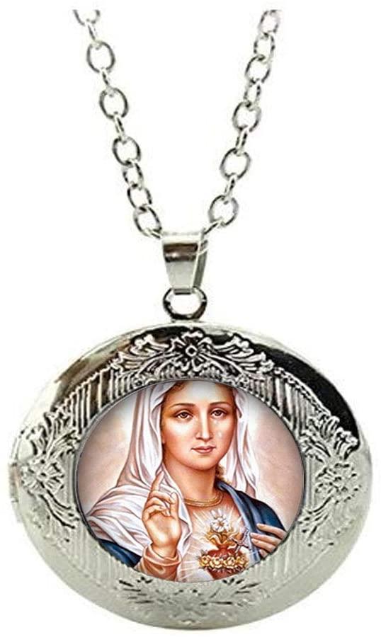 Beautiful Virgin Mary Glass Locket Necklace Art Photo Jewelry Birthday Festival Gift Beautiful Gift
