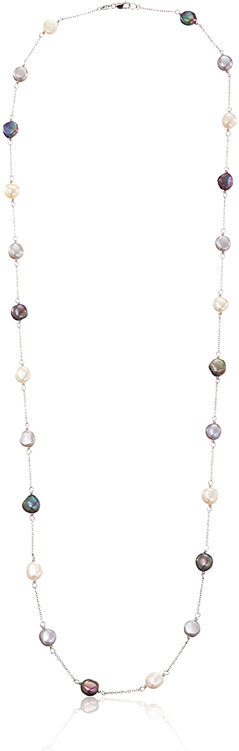 Honora Tuxedo Freshwater Cultured Pearl Tin Cup Necklace, 36
