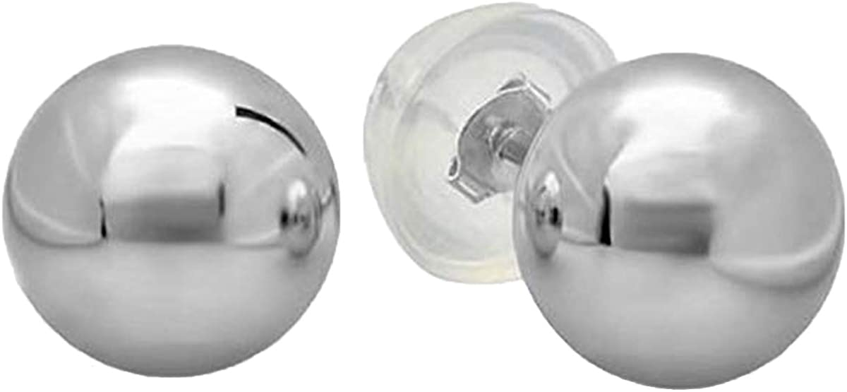 Dazzlingrock Collection 14K Ball 10mm Stud Earrings with Silicone covered Gold Pushbacks, White Gold