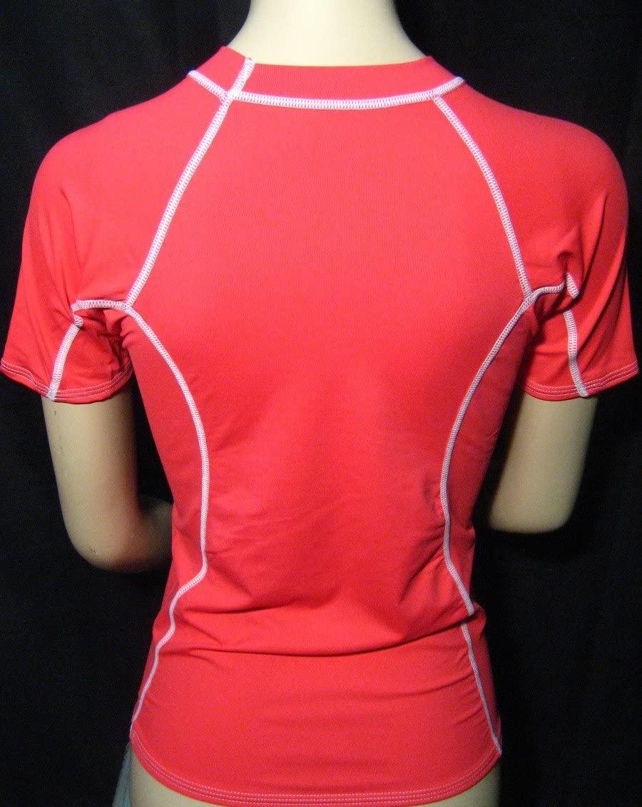 Womens Rashguard Pink Short Sleeve Sun Shirts Uv Surf Swim Top Swimwear Medium !