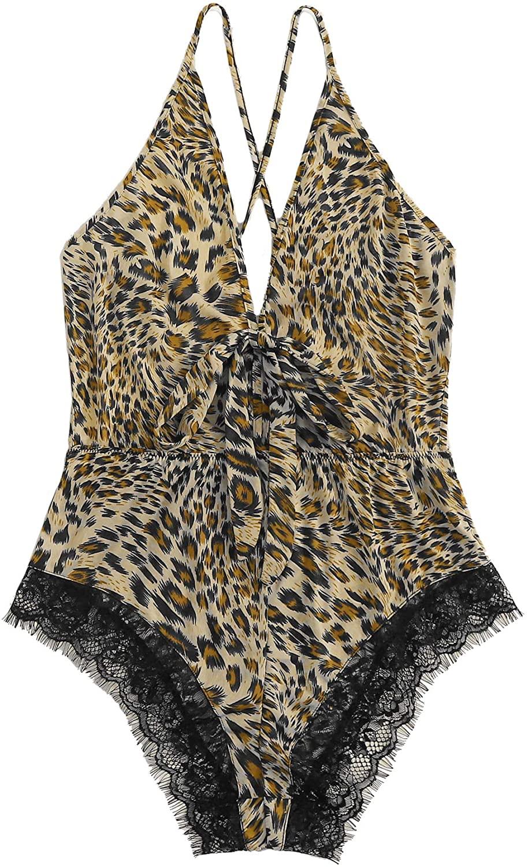 MakeMeChic Women's Sexy Leopard Print Tie Front Criss Cross Back Lace Hem Teddy Bodysuit