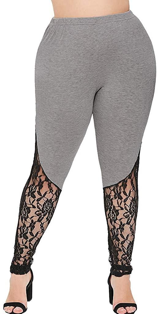 Xinantime Plus Size Lace Splicing Leggings Trousers Women's Ladies Plus Size Skinny Pants Yoga Sport Pants for Sports